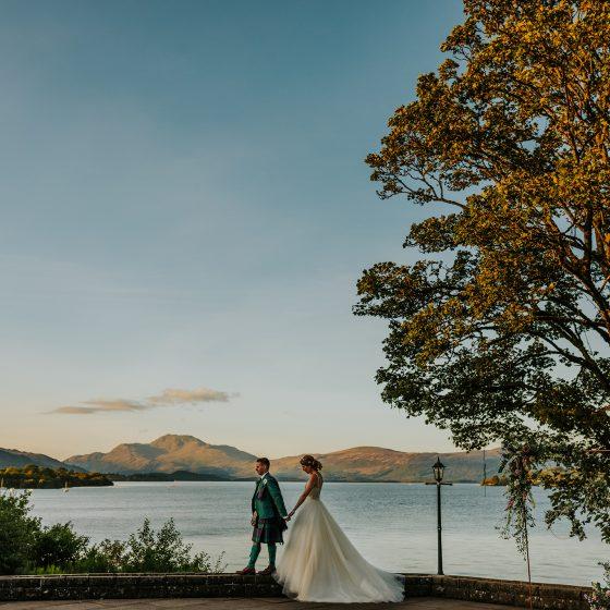 Wedding day photo on loch lomond